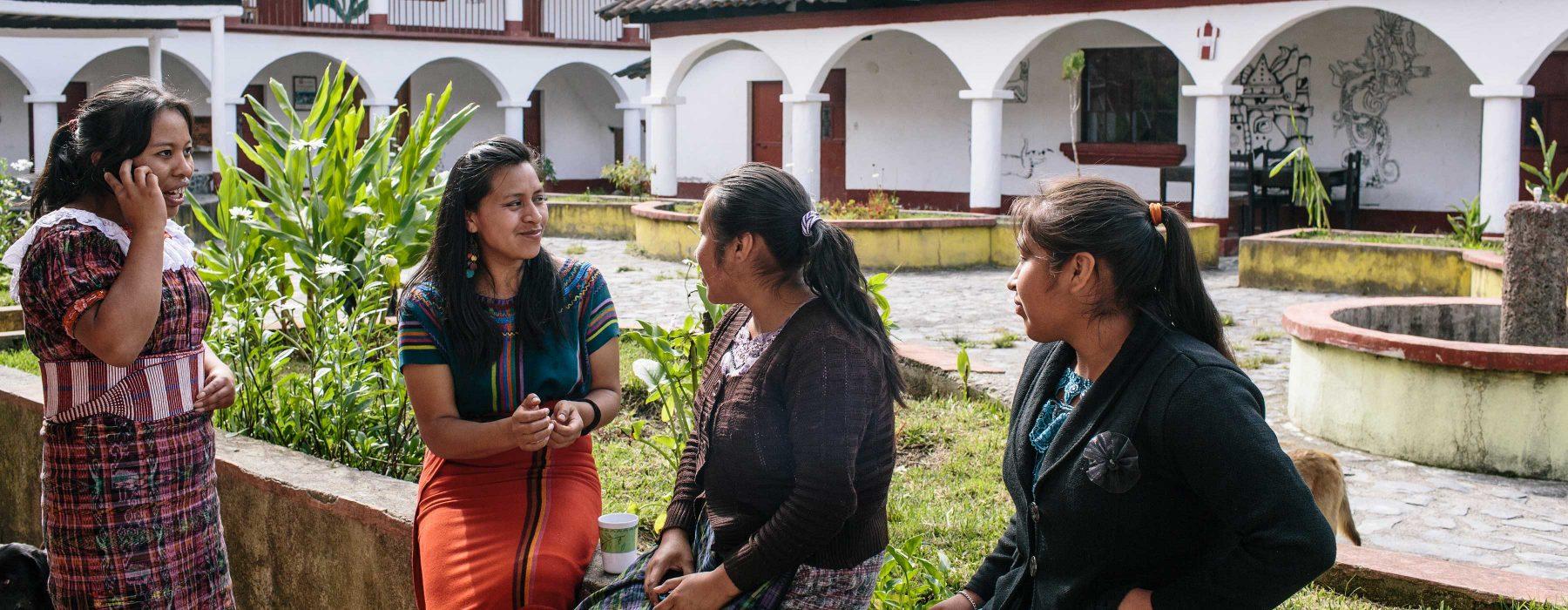 Students hang out in the plaza at the Centro de Formacion Nuevos Mayas in the Xix community of Guatemala.