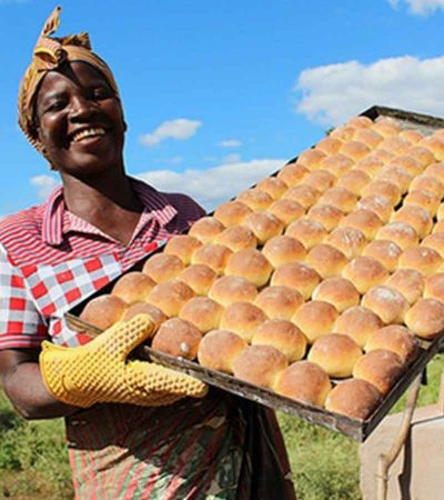 Woman with home made rolls